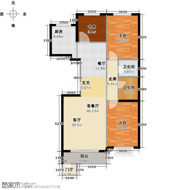 龙江华苑16#H户型3室1厅2卫1厨