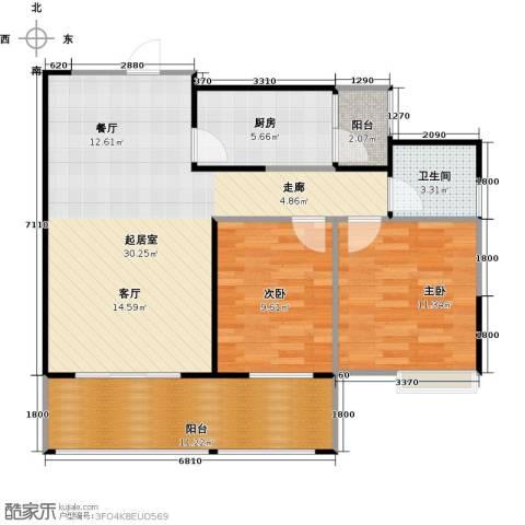 骏逸第一江岸孔雀湾二期2室0厅1卫1厨73.46㎡户型图