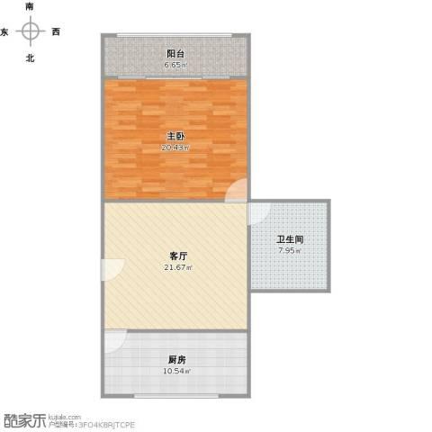 车站新村1室1厅1卫1厨90.00㎡户型图