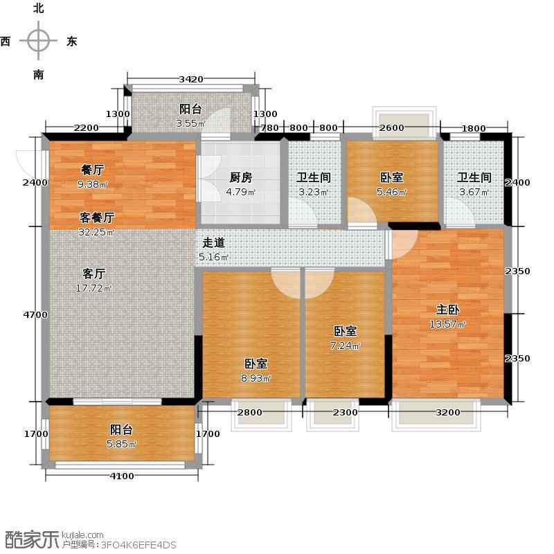 金田花园花域19栋标准层D1户型1室1厅2卫1厨