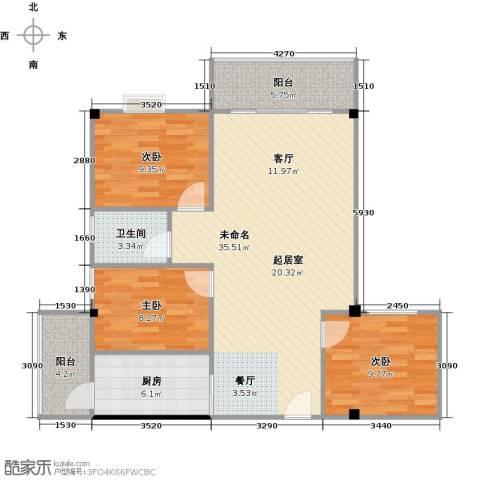 澳景蓝庭3室0厅1卫1厨89.00㎡户型图