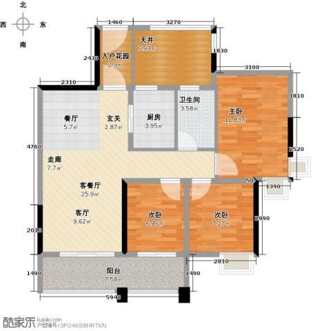 君�花园3室1厅1卫1厨81.00㎡户型图