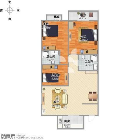 华豪丽晶3室1厅2卫1厨124.00㎡户型图