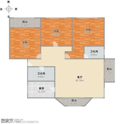 浦江公馆3室1厅2卫1厨240.00㎡户型图