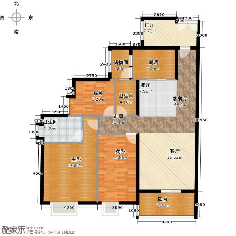 源海御苑B栋4-29层标准层01单位户型3室1厅2卫1厨