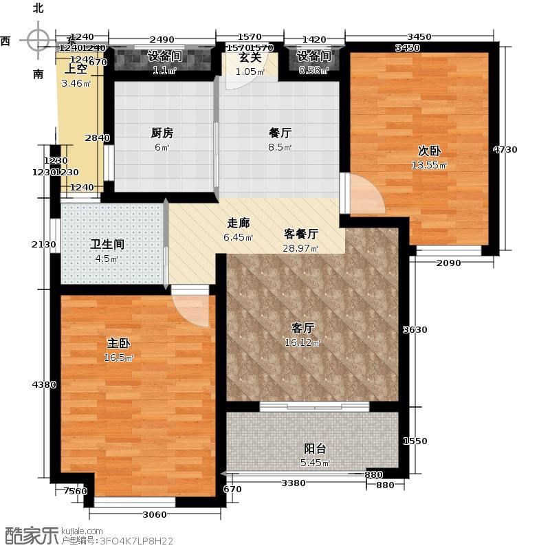 绿地世纪城12号楼水榭欧风户型2室1厅1卫1厨