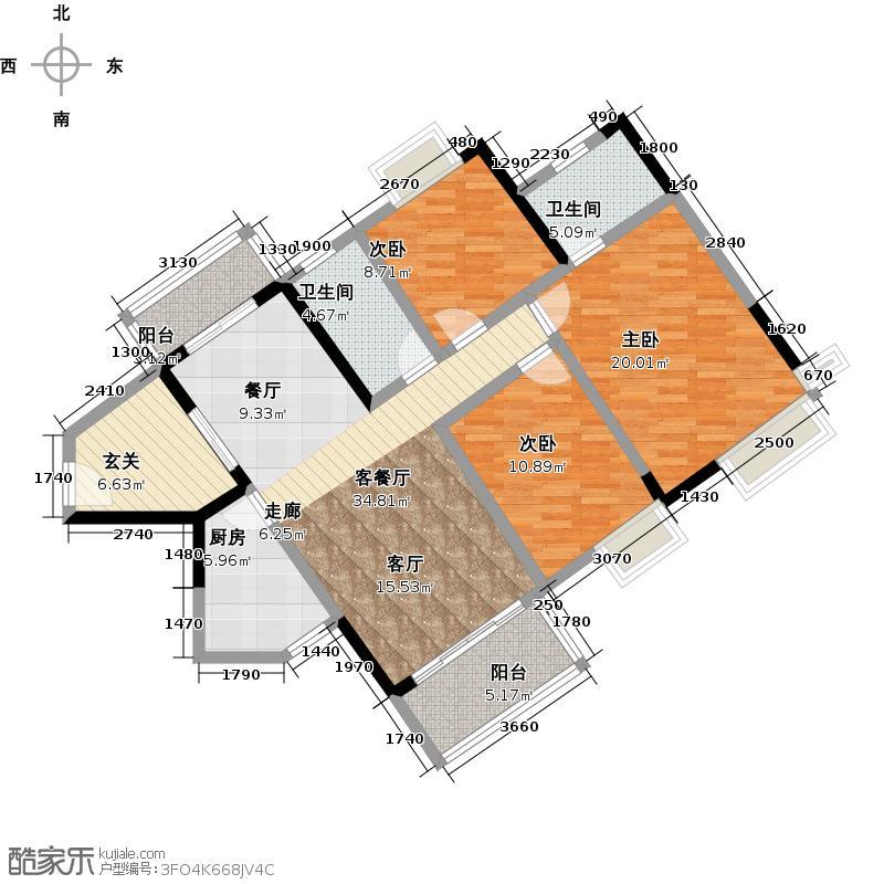 龙光棕榈水岸123.00㎡N22栋江悦华庭04单位户型3室2厅2卫