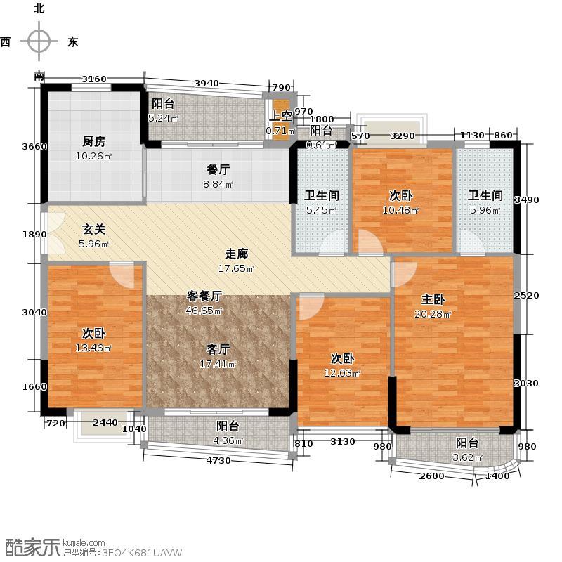 庄士映蝶蓝湾二期K栋01户型4室1厅2卫1厨