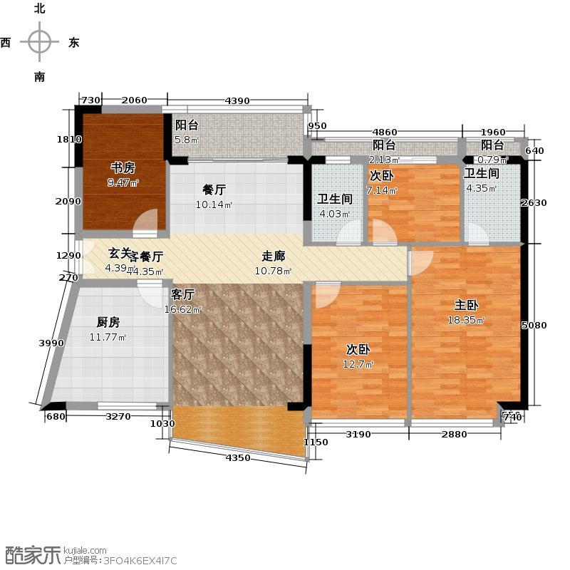 庄士映蝶蓝湾二期L栋04户型4室1厅2卫1厨