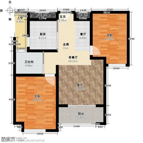 绿地世纪城2室1厅1卫1厨110.00㎡户型图