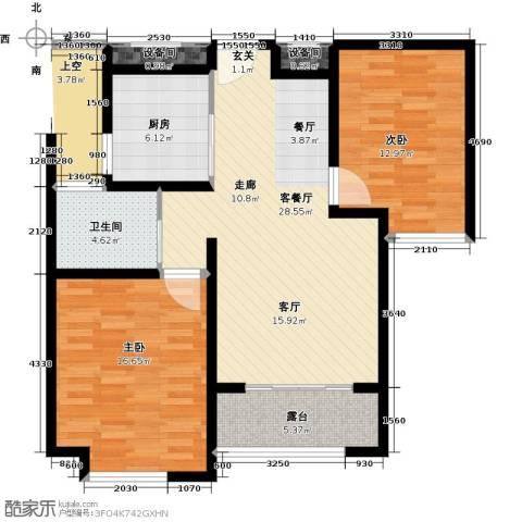绿地世纪城2室1厅1卫1厨109.00㎡户型图
