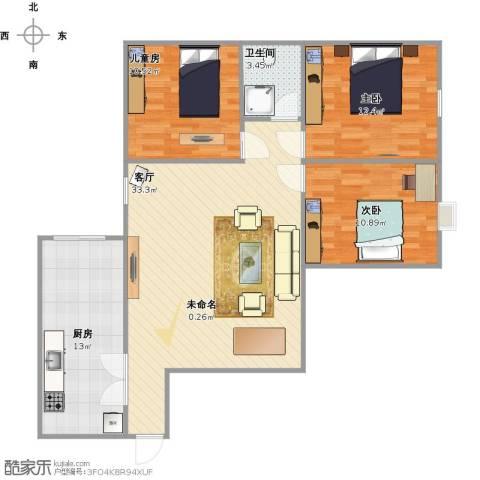 香槟国际3室1厅1卫1厨111.00㎡户型图