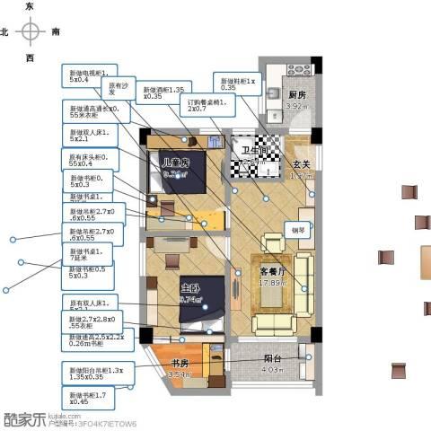 东河苑小区3室1厅1卫1厨59.90㎡户型图