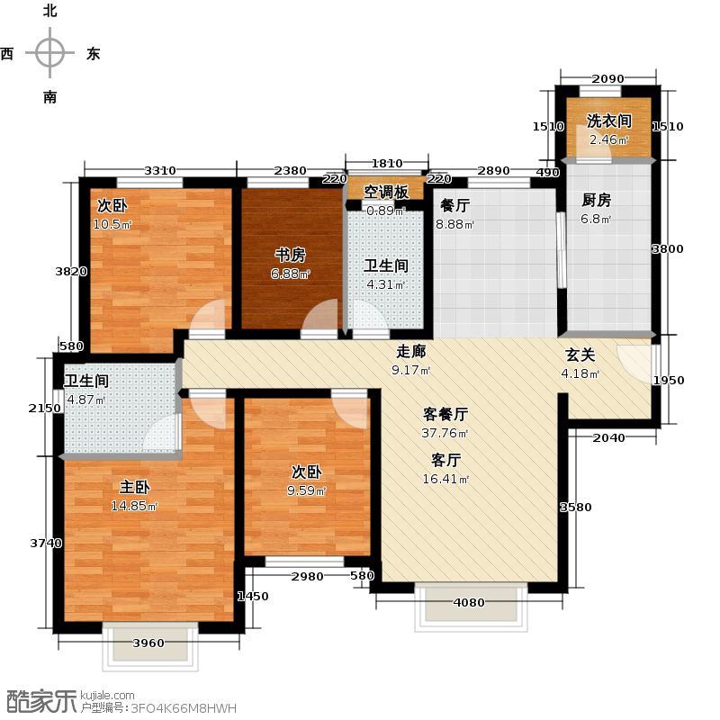 天津津南新城庭悦系H区22号楼01户型4室1厅2卫1厨