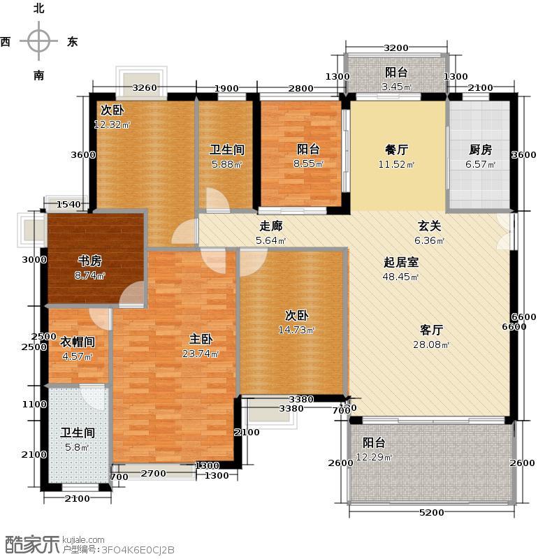 达鑫江滨新城户型4室2卫1厨