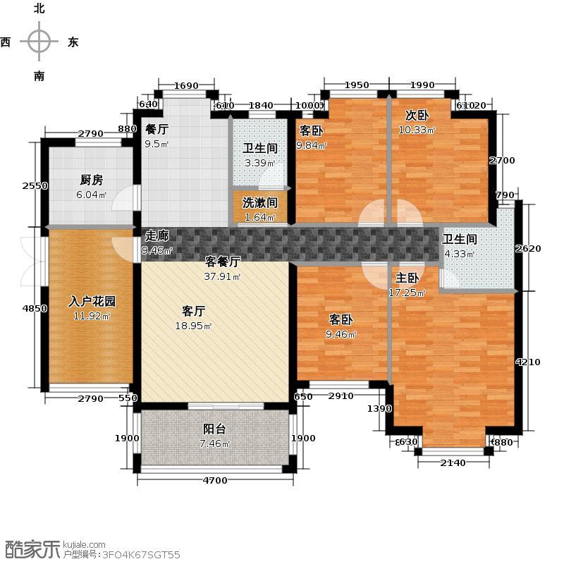 顺欣花园2期17栋偶数层03单位户型4室1厅2卫1厨