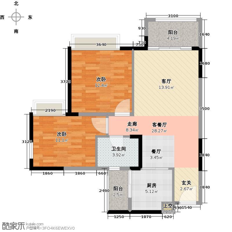 世纪城幸福公馆幸福轩尼诗户型2室1厅1卫1厨