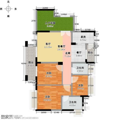 中央财津3室1厅2卫1厨106.00㎡户型图