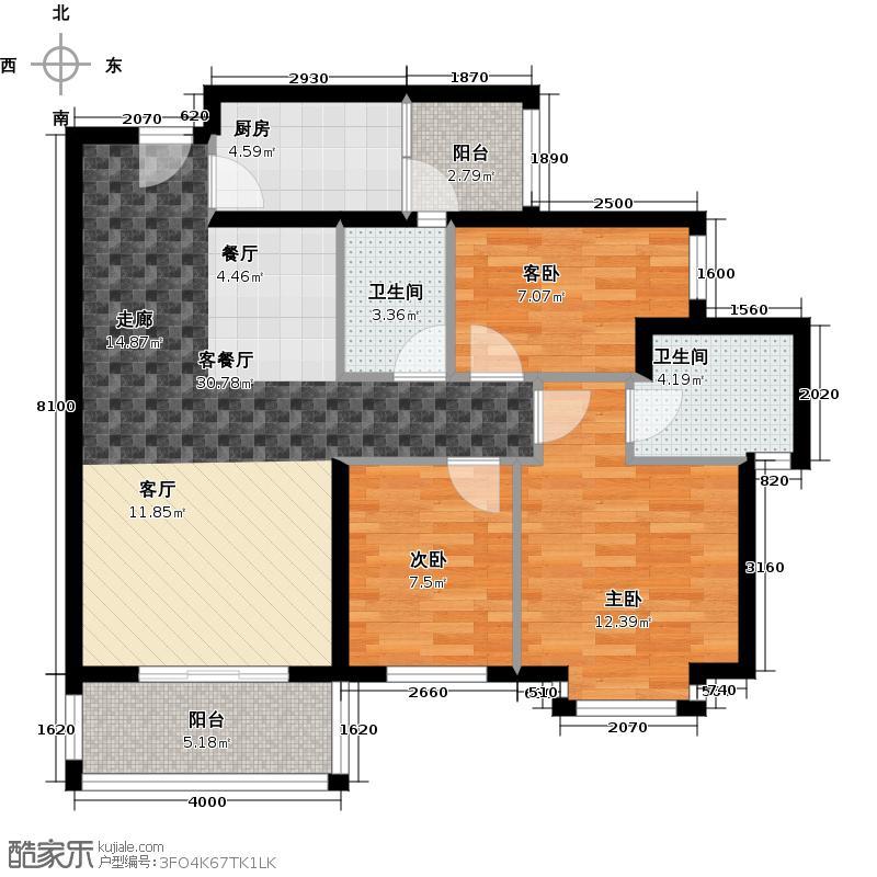 顺欣花园2期17栋奇数层04单位户型3室1厅2卫1厨