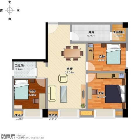 时代庐山3室1厅1卫1厨105.00㎡户型图
