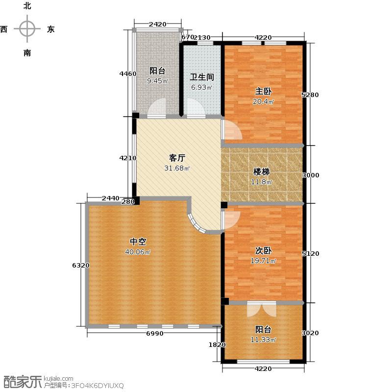 凯迪赫菲庄园双拼DH-SI二楼户型2室1厅1卫