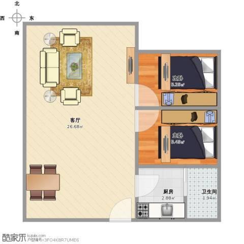 和平新村2室1厅1卫1厨57.00㎡户型图