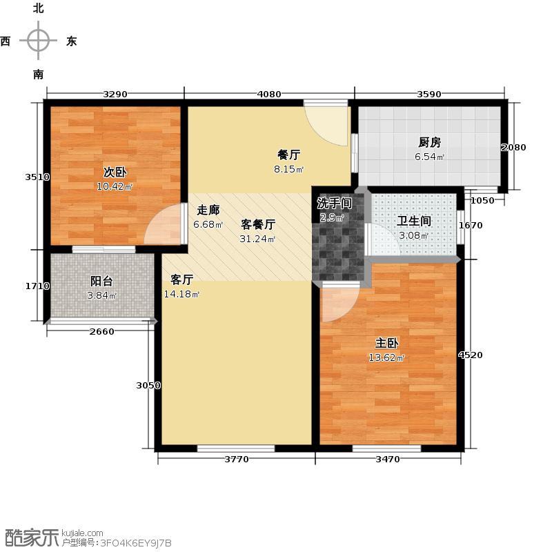 朗诗绿色街区B户型2室1厅1卫1厨