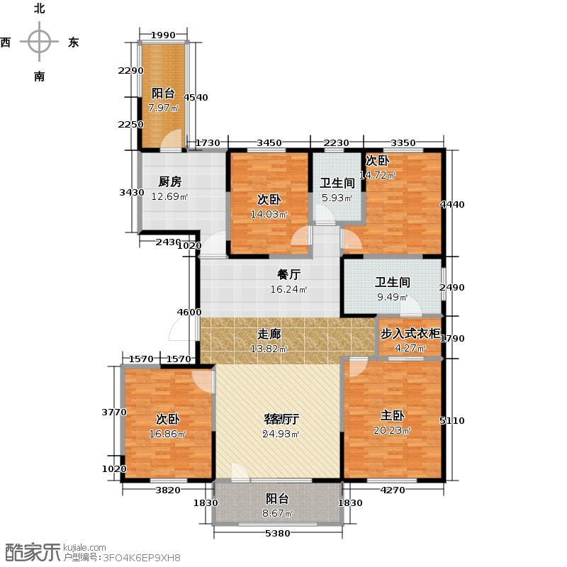 朗诗绿色街区17#E户型4室1厅2卫1厨