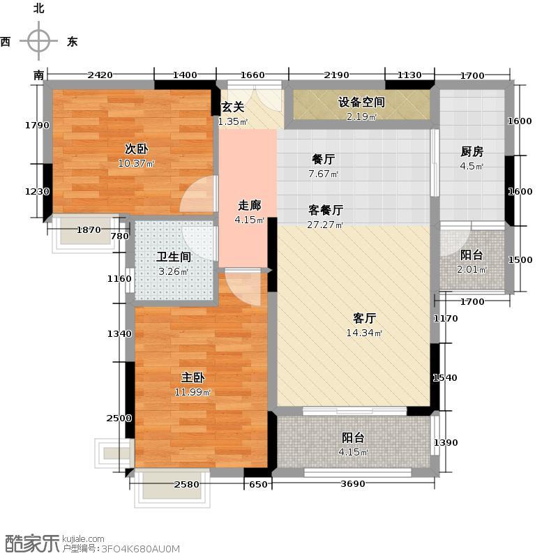 中央财津1栋1单元户型2室1厅1卫1厨