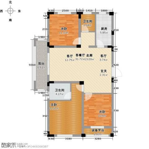 伟业迎春乐家3室1厅2卫1厨104.00㎡户型图