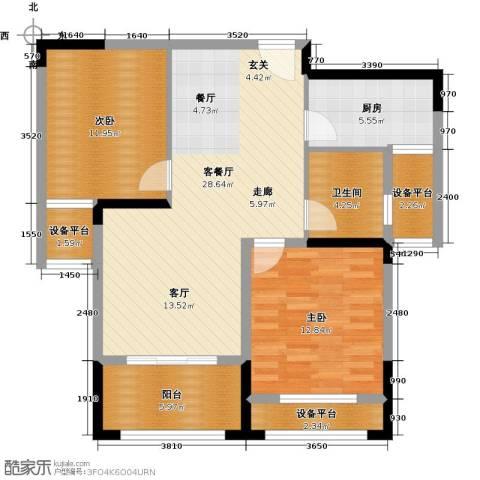 伟业迎春乐家2室1厅1卫1厨86.96㎡户型图
