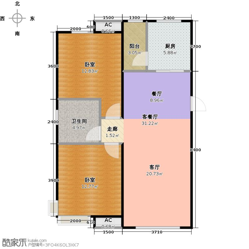 家和园98.00㎡C户型2室1厅1卫