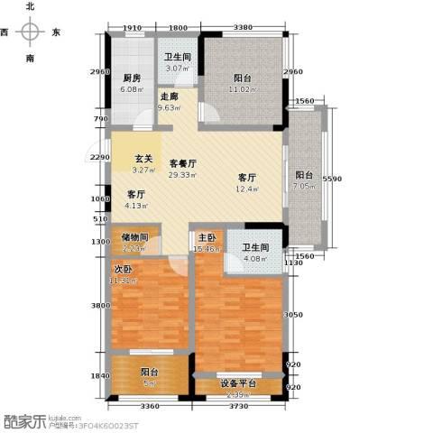 伟业迎春乐家2室1厅2卫1厨112.00㎡户型图