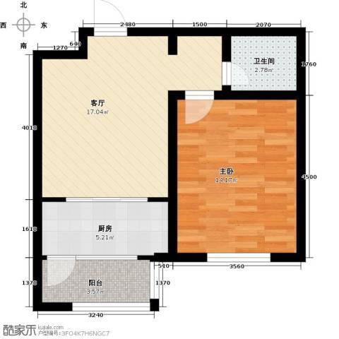 天津未来城1室1厅1卫1厨60.00㎡户型图