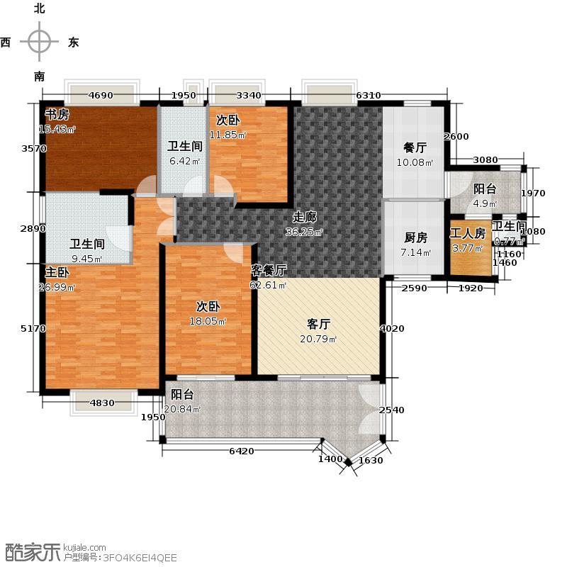 汇景新城E2-B1栋03单元户型4室1厅3卫1厨