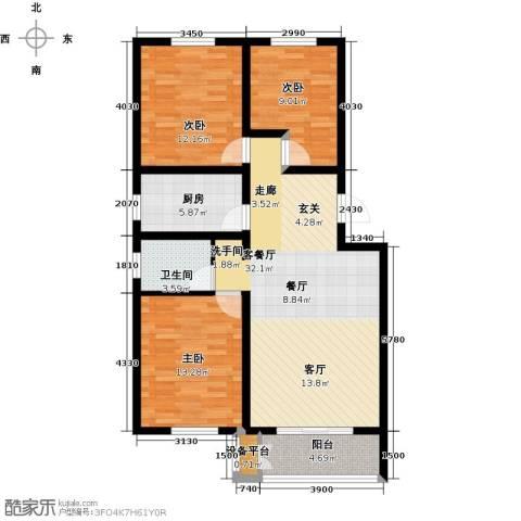 天津未来城3室1厅1卫1厨104.00㎡户型图