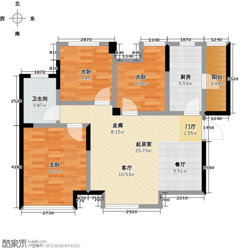 蓝光COCO蜜园76.00㎡A1户型3室2厅1卫