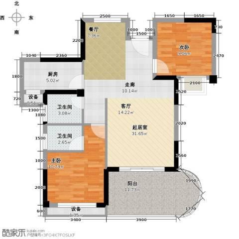 海投绿苑新城2室0厅2卫1厨85.00㎡户型图