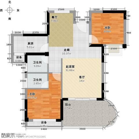 海投绿苑新城2室0厅2卫1厨80.00㎡户型图