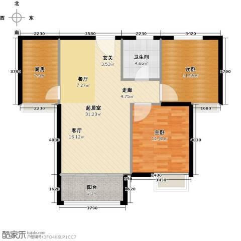 逸城山色公馆2室0厅1卫1厨80.00㎡户型图