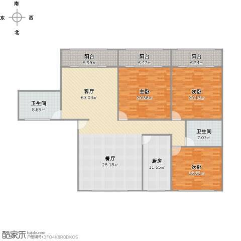 清涧三街坊3室1厅2卫1厨223.00㎡户型图