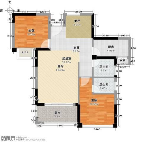 海投绿苑新城2室0厅2卫1厨89.00㎡户型图