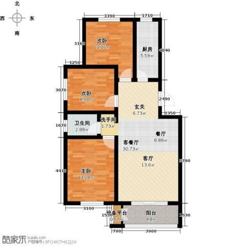 天津未来城3室1厅1卫1厨99.00㎡户型图
