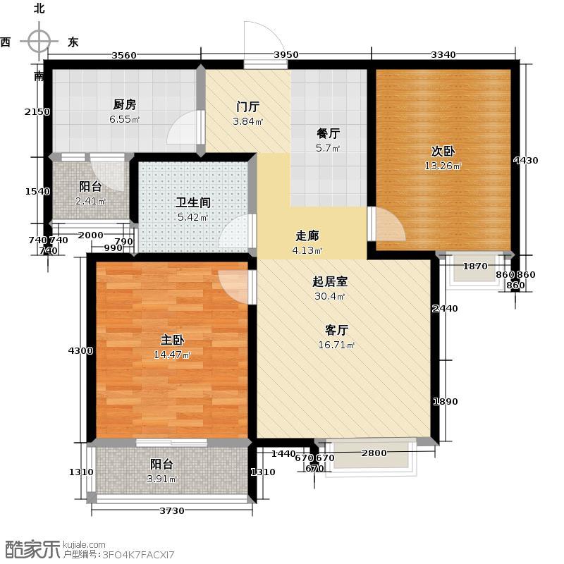 润城85.70㎡C3户型两室两厅一卫户型2室2厅1卫