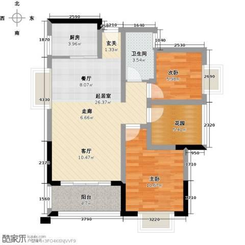 东海岸花园2室0厅1卫1厨88.00㎡户型图