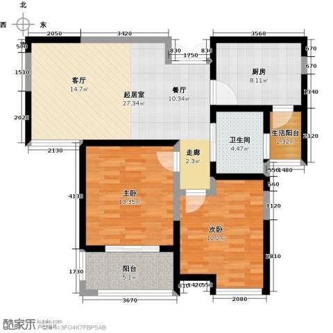 财信圣堤亚纳2室0厅1卫1厨84.00㎡户型图