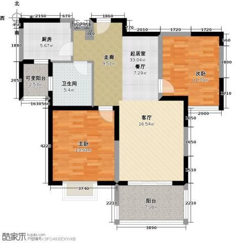 三湘森林海尚2室0厅1卫1厨88.00㎡户型图