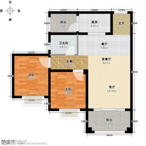 锦城南府2室1厅1卫1厨86.00㎡户型图