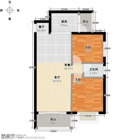 花香四季・雅苑2室1厅1卫1厨64.74㎡户型图