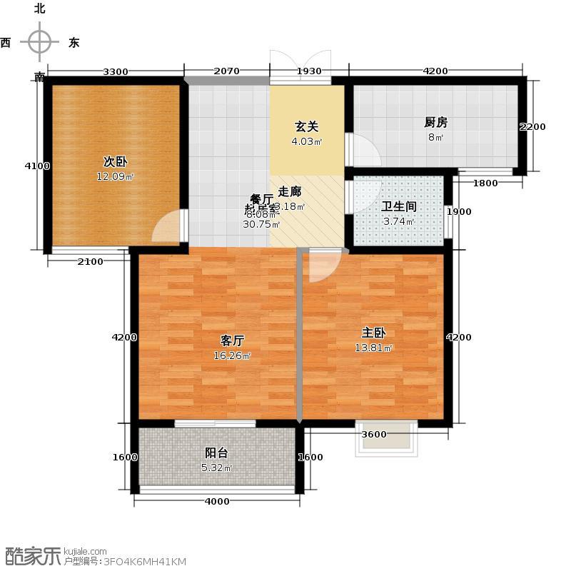 中登悦园89.72㎡4#楼B1户型2室2厅1卫户型2室2厅1卫